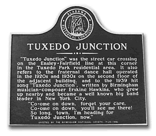 Alabama plaque commemorating Tuxedo Junction